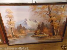 W. CHANDLER OIL ON CANVAS PAINTING SNOW MOUNTAIN CABIN ALONG STREAM FALL LEAVES