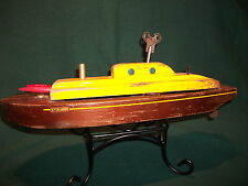 vtg lindstrom wind up toy boat wooden working old pond collector cannon ship.