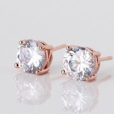 New 18K Rose Gold Filled stylish white sapphire crystal women stud earrings