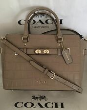 COACH 37099 Blake Carryall Croc Embossed Satchel Swagger Stone Beige Leather NWT