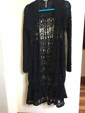 NWT FREE PEOPLE Long Black Crochet SWEATER Duster Coat Cardigan SOLD OUT S