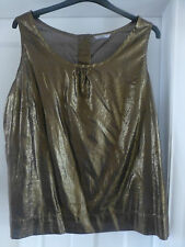 BNWOT MARKS & SPENCER BRONZE METALLIC SLEEVELESS TOP  5 x BUTTON TO BACK SIZE 22
