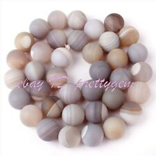 """10mm Frost Round Stripe Gray Agate Gemstone For DIY Jewelry Making Beads 15""""/Lot"""