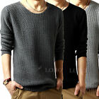 Men Fisherman Jumper Crew Neck Plain Knitted Fashion Sweater Casual Pullover Top