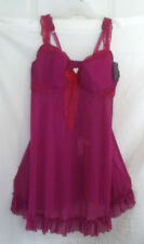 12 CACIQUE LANE BRYANT BABYDOLL TOP,THONG FUSCHIA /PINK NIGHTGOWN WIRE BRA 18/20