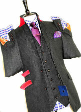 BNWT MENS HOLLAND ESQUIRE MICRO CHECKED TWEED FEEL 3 PIECE SUIT 40R W34 X L32