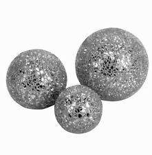3 x SILVER DIFFERENT SIZED CRACKLE MOSAIC GLASS DECORATIVE BALLS Next Day Desp