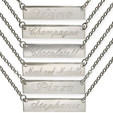 STERLING SILVER MESSAGES BAR PERSONAL PLATE FREE ENGRAVE ANY NAME CHAIN NECKLACE