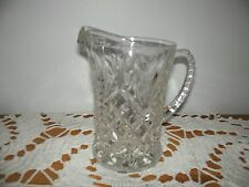Vtg EAPG Diamond Bar and Fan Pattern Small Glass Cream or Syrup Pitcher