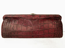 "DONNA KARAN DKNY crocodile embossed top frame clutch bag, ""oxblood"" NWT, $195"