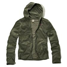 New Hollister Mens Olive Green Faded Thin Full Zip Hoodie Sweatshirt Small