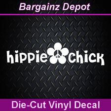 Vinyl Decal... HIPPIE CHICK ... Peace Flower Decal Sticker Laptop Car