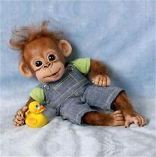 ASHTON DRAKE Handfuls of fun GOOFING OFF GEORGE Baby Ape MONKEY Doll NEW