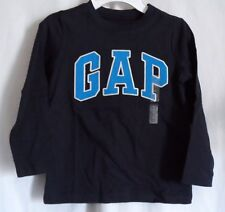 BOYS 5T WICKED NAVY COLOR L/S SHIRT GAP IN LARGE BLUE & WHITE LETTERS NWT ~ GAP