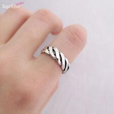 925 argento Sterling spessa Twist LOVE CORDA WAVE cordolo INFINITY aperto BAND RING N