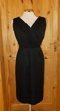 MISS ELLIETTE black silk chiffon VINTAGE midi 60s party evening cocktail dress 8