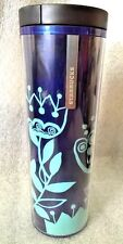 Starbucks Floral Blue Floral Acrylic Badge Coffee Travel Tumbler/16oz.