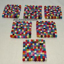 TM4 Lot of 6 Hand Craft wool Felt Ball pom pom beads Square 12cm Tea coaster mat
