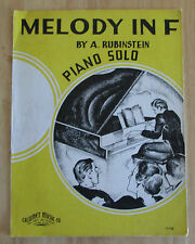 Melody In F by A. Rubinstein Piano Solo 1935 Sheet Music