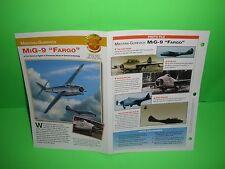 """MIKOYAN- GUREVICH MIG-9 """"FARGO"""" AIRCRAFT FACTS CARD AIRPLANE BOOK 152"""