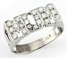 925 STERLING SILVER CUBIC ZIRCONIA PAVE CZ MUM MUMMY MOTHER CURB LINK RING BAND