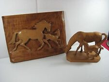 2 Vintage Beautiful German Hand Wood Carved Horse Art Pieces: Picture &Figurine