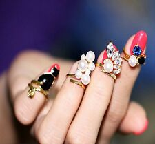 Chic Punk 4Pcs GOLD Stack Pearl Crystal Cat Band Mid Finger Knuckle Nail Ring YX