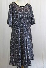 eShakti Purple Pink Black Geometric Floral Light Summer Dress  XL16 Stain Glass