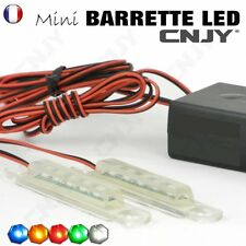 2 MINI BARRETTE LED RAMPE IDÉAL EN FEUX D'AVERTISSEMENT AUTO MOTO 12V ROUGE