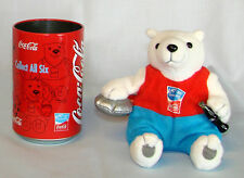 Olympic COCA COLA PLUSH POLAR BEAR w/DISCUS IN COKE CAN~2004 Athens~NEW