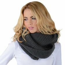 Vienna Charcoal Snood Womens Knit Scarf Ladies Winter Fashion - Great Xmas Gift!