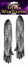 Halloween Lace Spider Web Gloves Black 53cm Witch Widow Fancy Dress