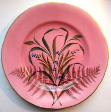 French pink Majolica plate, Limoges, 1900: Ferns, Lavender and Wheat