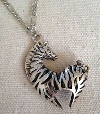 Silver Tone Openwork Zebra Horse Pendant and 27in Chain Necklace