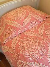 Morgan Jones Twin Vintage Bedspread Bed Red Pink Beige Queen Elizabeth Salmon