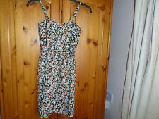 Black, green and peach floral print mini sundress, ATMOSPHERE, size 6
