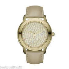 NEW-DKNY METALLIC CHAMPAGNE LEATHER BAND,GOLD DIAL+PAVE CRYSTALS WATCH NY8435