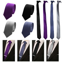 Mens Cool Skinny Tie Solid Plain  Thin Narrow Slim Formal Casual Necktie