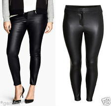 H&M + SIZE 50 / UK 24 SKINNY LEDER HOSE Lederhose FAUX LEATHER TROUSERS LEGGINGS