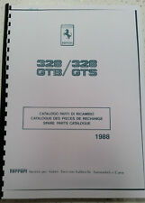 FERRARI 328 GTB  328 GTS PARTS MANUAL 1988 REPRINTED COMB BOUND