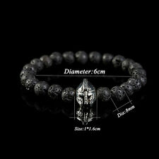 Men Jewelry Black Lava Rock Stone Beaded Bracelets Charm Silver Helmet Bracelet