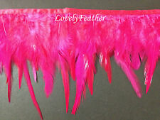 Hackle feather fringe of dark pink colour 2 yards trim for Crafts/Costume/Sewing