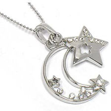 "Celestial Crystal Crescent Moon and Star Pendant 18"" Necklace"