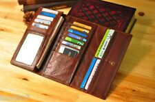 Women's Genuine Leather Trifold Wallet Brown Purse Credit Card Holder Clutch