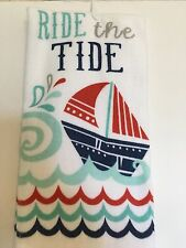 NAUTICAL SAILBOAT  KITCHEN TOWEL RIDE THE TIDE RED BLUE GRAY TEAL OCEAN SEA SHIP