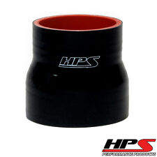 """HPS 1.25""""   2"""" ID x 3"""" Long 4-ply Reinforced Silicone Reducer Coupler Hose Black"""