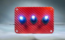 3 HOLE RED Carbon Fiber 3D WRAP w/ LED toggle switches - WHITE