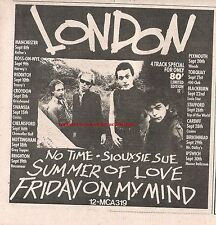 LONDON No Time Siouxsie Sue 1977 UK Press ADVERT 7x7 inches