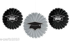 GRADUATION TISSUE PAPER FAN DECORATIONS (3) ~ Birthday Party Supplies Black