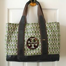 Tori Burch Green and Grey Jacquard Pocket Tote Book Bag Tote $398